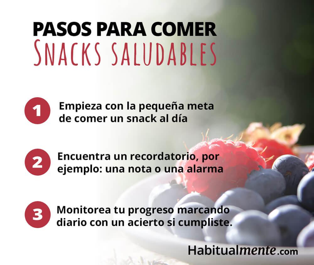 pasos para comer snacks saludables