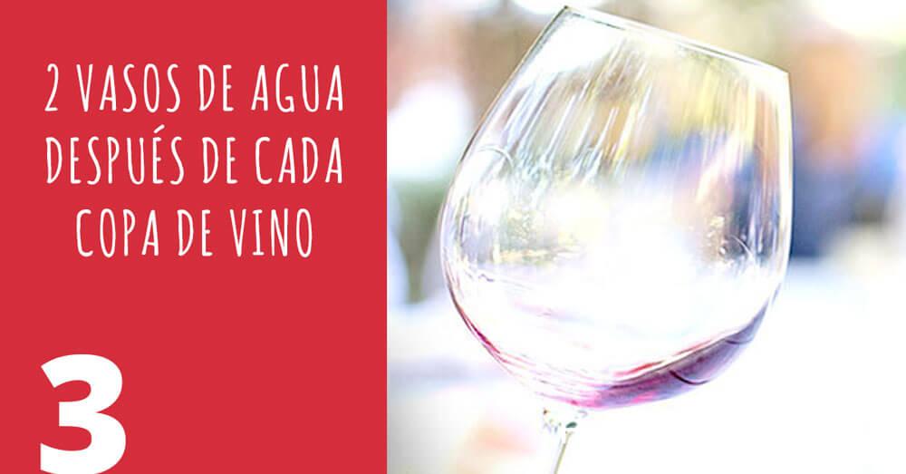 2 vasos de agua despues de cada copa de vino